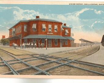 Linen Postcard, Chillicothe, Ohio, Union Railroad Depot, ca 1920
