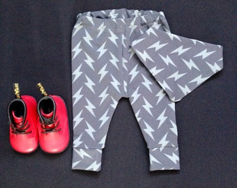 Baby Leggings with Bib or Headband set Grey Lightening Bolt Bowie