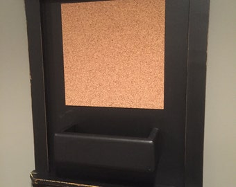 Mail Organizer Chalkboard with Cork, Shelf and distressed black Frame