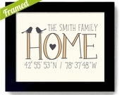 Personalized Housewarming Gift First Home Latitude Longitude Framed New House Art Print Happily Ever After Newlywed Welcome Gift