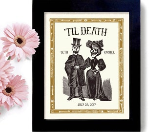 Skeleton Wedding Personalized Unique Wedding Gift 11x14 Art Print Goth Wedding Couple Day of the Dead Tombstone Quirky Couple Tattoo Couple