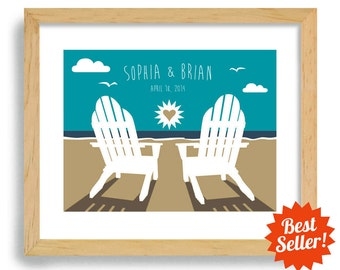 Beach Wedding Decor Personalized gift Wedding Beach Gift Bride and Groom Beach Theme Unique Engagement Gift