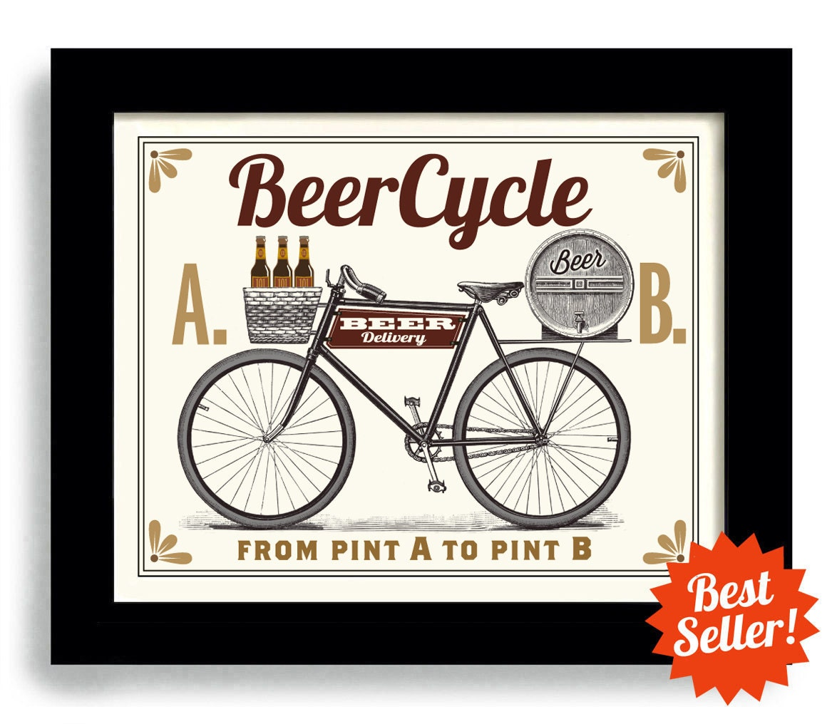 Bar Art Cyclist Gift Bicycle Art Beer Art Bar Wall Print