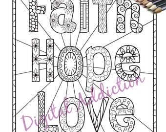 faith hope love coloring page printable doodle zentangle black and white art