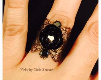 Dark Rose filigree ring made in brass color filigree with a black resin rose.