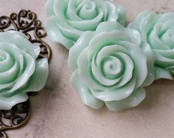 28 mm of Mint Green Big Rose Resin Flower Cabochons (.ag)