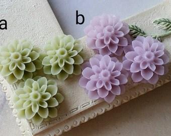 16 mm Green / Purple Resin Dahlia Flower Cabochons (.am)