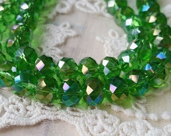 8 x 10 mm 48 Faceted Cut Rondelle AB Green Color Glass / Crystal / Lampwork Beads / Electroplate bead (.mcu)