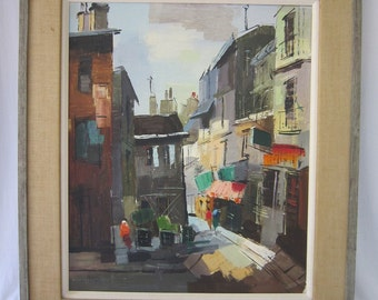 Mid Century Cityscape Oil Painting, Signed