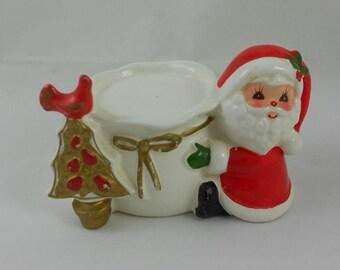 Vintage Napcoware Santa and Gold Tree and Bird Votive Candleholder