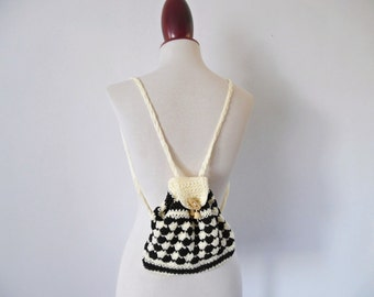 My Super Tiny Mini Backpack . Bag Small Little Rucksack Makrame Crochet 70s NOS Unused