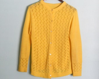 Vintage Sunny Yellow Cardigan Sweater Knit Scale Pattern