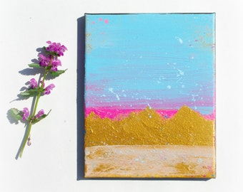 Fine art, Small art, Original painting, Pink and Gold Wall art, home decor, gold painting on 8x10 canvas Contemporary Art