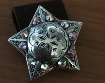 Star Pendent Concho Necklace Or Keychain Star Concho Pendant  Swarovski Crystal Necklaces Saddle Cowgirl Bling Wedding Rodeo Western Country
