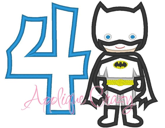 Batboy with the Number 4 Applique design