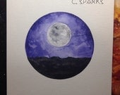 Desert Moonlight - 9x12 Watercolor Painting on Paper