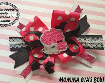 Momma Eva's -- NEW /Popular Over The Top Style/French Pink Poodle Boutique Mutli Layered Hair Bow with Lace and Pearl Accents//5 inch Design