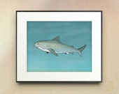 Tiger Shark // nautical ocean sea life // nursery art // Drawing // Digital Illustration //  // wall art // 5x7 8x10 11x14 print