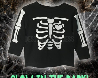Glow in the dark skeleton toddler tee or sweatshirt  - Skeleton Long Sleeve - Short Sleeve - Sweatshirt Toddler Shirt