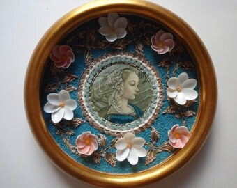 Sailors Valentine shell mosaic wall hangings shell art Florentine Italy beach decor coastal nautical shells sea shells