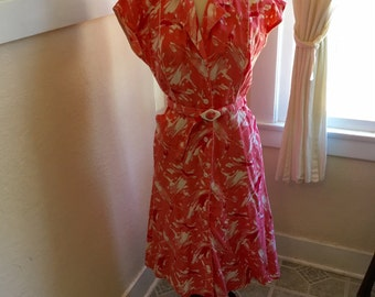 1950's Dress - Vintage 50s Cotton Dress , L - Pretty in Pink Dress