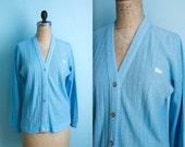 vintage turquoise Lacoste cardigan sweater / womens size medium to large
