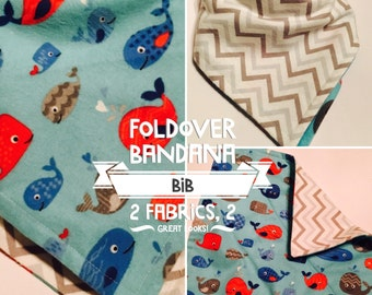 Bandana Bib/100% Cotton in Little Whales Print and reversible to Grey and White Chevron