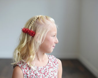 The Wood Anemone: Flower Girl Hair Clip in Red