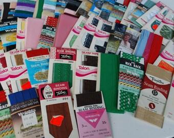 100 packages Vintage Wrights Rick Rack,Seam Binding