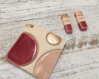 Modern Ceramic Pendant and Earrings, Minimal, Modern Jewelry, Unique Gift, Ceramics, Fashion, OOTD, Jewelry Set, Ceramic Jewelry