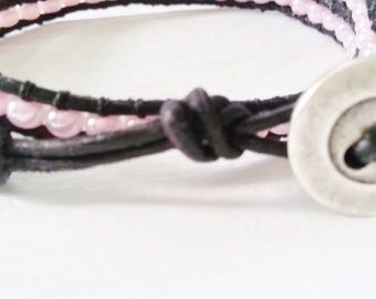 Chic double wrap leather bracelet, pink seed beads