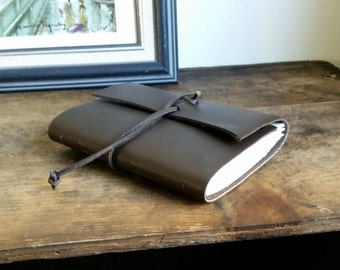 "Slim Leather Journal, Brown, Thin Hand-Bound ""The Gentleman"" 4.5 x 6 Journal by The Orange Windmill on Etsy 1635"