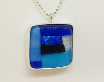 Modular Blue Fused Glass & Sterling Silver Pendant