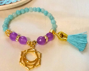 blue amazonite yoga bracelet with lotus charm , purple jade bracelet , yoga lotus mala bracelet with tassel , reiki chakra bracelet