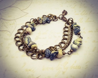Yellow Turquoise Gemstone and Bronze Chain Layered Boho Chain Bracelet - [B21]