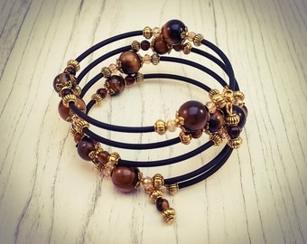 Tigers Eye Gemstone Black and Gold Memory Wire Wrap Bohemian Gemstone Cuff Bracelet - [B10]