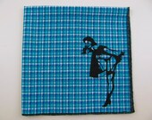Hankie- Chatty PIN Up GIRL shown on super soft blue/aqua plaid Hanky-or choose from white or any solid colors or plaids shown in pics