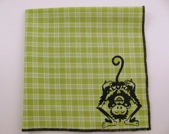 Hankie-ALOHA MONKEY sailor Jerry tattoo shown on super soft lime green plaid Hanky-choose from white or solid colors or plaids shown in pics