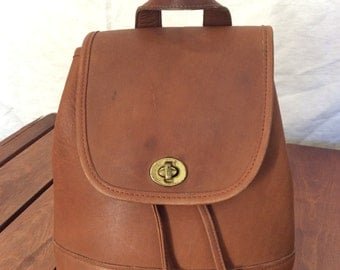 Vintage Genuine Coach Tan Leather Drawstring Backpack Made in United States