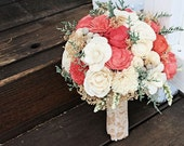Alternative Bridal Bouquet - Luxe Collection, Sola Flowers, Coral Ivory, Silver Brunia, Keepsake Bouquet, Woodland, Rustic Wedding