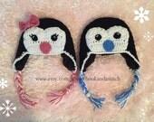 Crochet Penguin Hats - Holiday Hats - Twin Hats - Christmas Hats