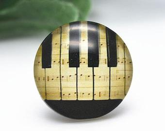 4pcs 25mm Round Handmade Photo Glass Cabochon - Piano
