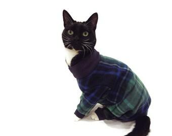 Navy Plaid Fleece Cat Pajamas-Fleece Cat Pajamas-Cat Pajamas-Cat Clothes-Cat Clothing-Cat Onesie-Clothes for Cats-Onesies for Cats