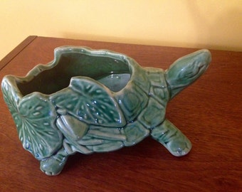 Vintage McCoy Ceramic Turtle Planter 1940 1950 Ceramic Green Pottery Leaves Lily Pad Bud Flower