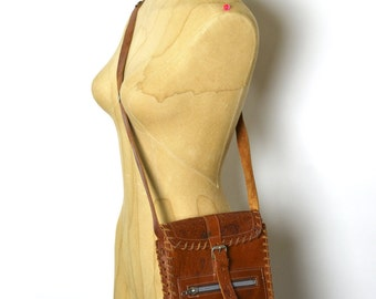 Vintage Hippie Bag - Fun Small 1970s Hand Tooled Leather Shoulder Purse