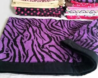 Ferret / Small Animal Bedding, Sleeper Sack - Large - Purple & Black Zebra