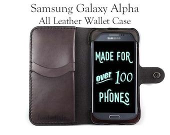 Galaxy Alpha Leather Wallet Case - No Plastic - Free Inscription