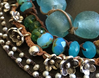 Bohemian Gypsy Sterling Floral Charm Bracelet