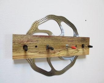 Key Rack , Recycled Bicycle Disc Brake Rotor and Reclaimed Wood Key Rack , Leash Rack , Bicycle Accessories
