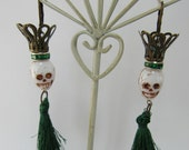 Dancing Tassel Crowned Skull Day of the Dead Gothic Costume Jewelry Earrings